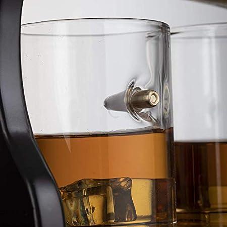 Bycloth Whisky Decanter Pistola Set con 4 Bala Glasses - Arma del Rifle del Whisky la Jarra de 800 ml en la exhibición de Madera Bandeja - para Licor Scotch Vodka o Vino