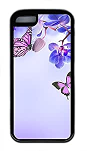 Brian114 iPhone 5C Case - Purple Flower Butterfly Soft Rubber Black iPhone 5C Cover, iPhone 5C Cases, Cute iPhone 5c Case