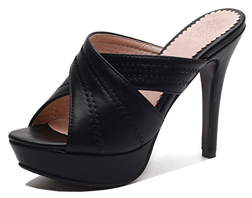 Aisun Women's Platform Slide Sandals - Peep Toe Slip On High Heel - Sexy Nightclub Stilettos (Black, 10 B(M) US)
