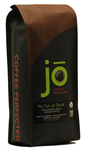 NO FUN JO DECAF: 12 oz, Organic Decaf Ground Coffee, Swiss Water Process, Fair Trade Certified, Medium Dark Roast, 100% Arabica Coffee, USDA Certified Organic, NON-GMO, Chemical Free Gluten Free Decaf