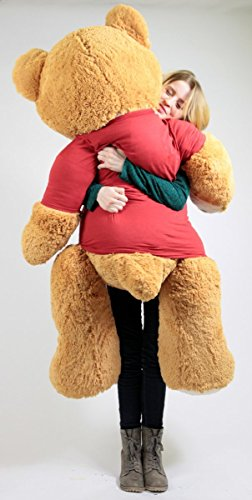 Big Plush United States Marines Giant Teddy Bear Five Feet Tall Honey Brown Color Wears Tshirt That says Someone in The Marines Loves You
