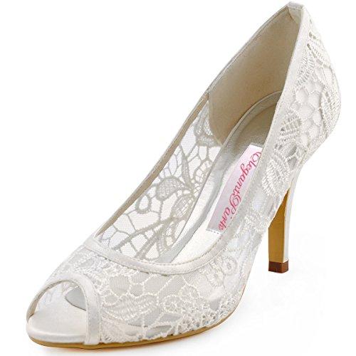 ElegantPark HP1400 Ivory Women Peep Toe High Heel Pumps Vintage Lace Wedding Dress Shoes Ivory US 7