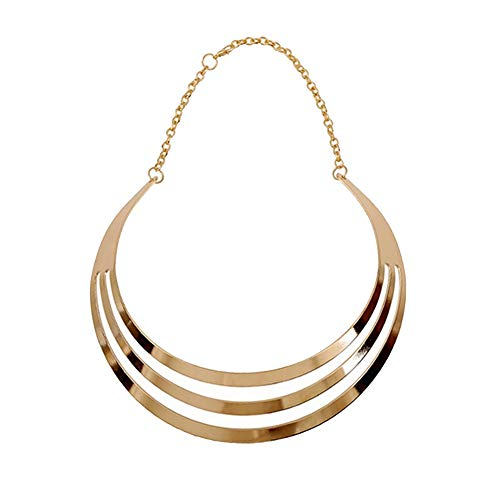 S&Moon Charm Metal Chunky Statement Bib Choker Necklace Jewelry (Gold 2)