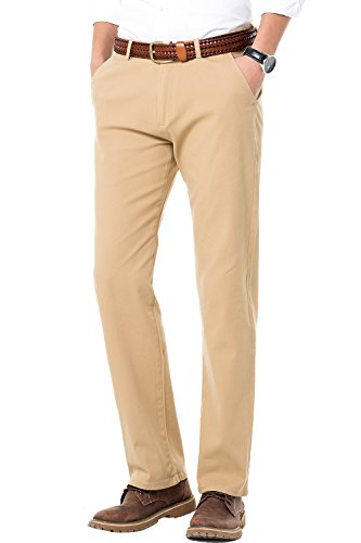 Flat Front Twill Trousers - TALITARE Men's Casual Regular Fit Chino Pants Flat-Front Strechy Twill Elastic Trousers Solid MH104 Camel Tag 40