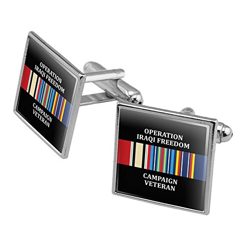 Marines Operation Iraqi Freedom Campaign Veteran Ribbon OIF Officially Licensed Square Cufflink Set Silver - Silver Ribbon Campaign