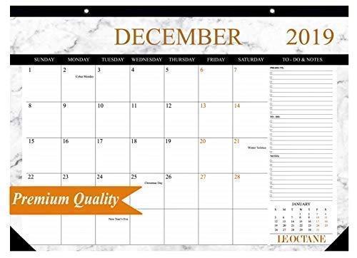 Desk Calendar 2019 Gold Large Monthly Wall Calendar Planner, Big Giant Daily Planning Blotter Pad, Academic Desktop Calendar - Premium Quality 17