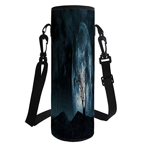 iPrint Water Bottle Sleeve Neoprene Bottle Cover,Fantasy,Night Moon Sky with Tree Silhouette Gothic Halloween Colors Scary Artsy Background,Slate Blue,Fit for Most of Water Bottles