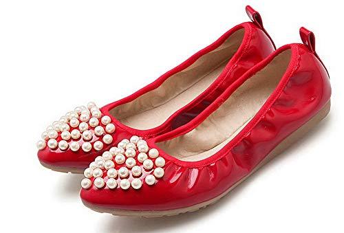 Rosso Donna Chiusa AllhqFashion Flats FBUIDD006349 Punta Ballet Maiale di Pelle Puro Tirare Pqxdq7