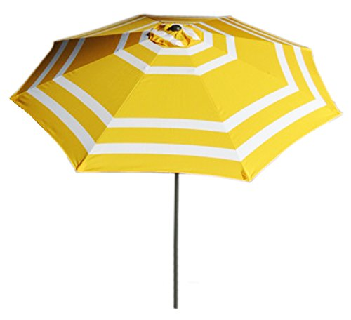 9FT Wide Striped Aluminum Adjustable Umbrella with Crank - This umbrella does not come with the stand This item will not Only add to your decor but also let you enjoy your terrace, balcony or your backyard without sun hitting you. This item has a polyester fabric - shades-parasols, patio-furniture, patio - 413QFlNFTIL -