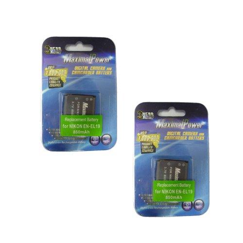 Maximal Power DB DB NIK EN-EL19 X2  MaximalPower Replacement Battery for Nikon EN-EL19, Nikon COOLPIX S2500, S4100, S3100 Camera 2 Pack
