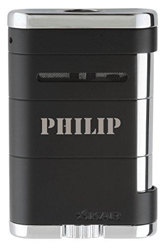 (Personalized Xikar Allume Tuxedo Black Tabletop Triple Lighter - Free Laser Engraving)