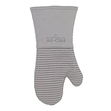 All-Clad Textiles Heavyweight 100-Percent Cotton Twill and Silicone Oven Mitt, Titanium