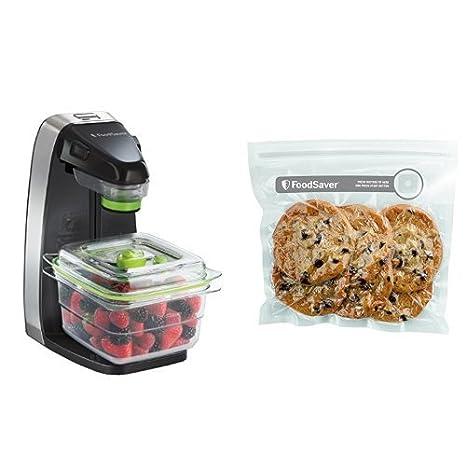 Foodsaver - Envasadora al vacío y pack de bolsas con cierre tipo zip para conservación de alimentos - FFS010X + FVB015X