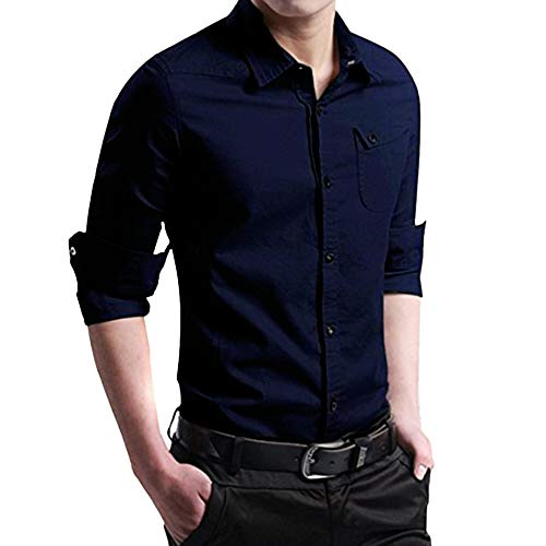 ZYEE Clearance Sale!Mens Autumn Casual Military Cargo Slim Button Long Sleeve Dress Shirt Top Blouse