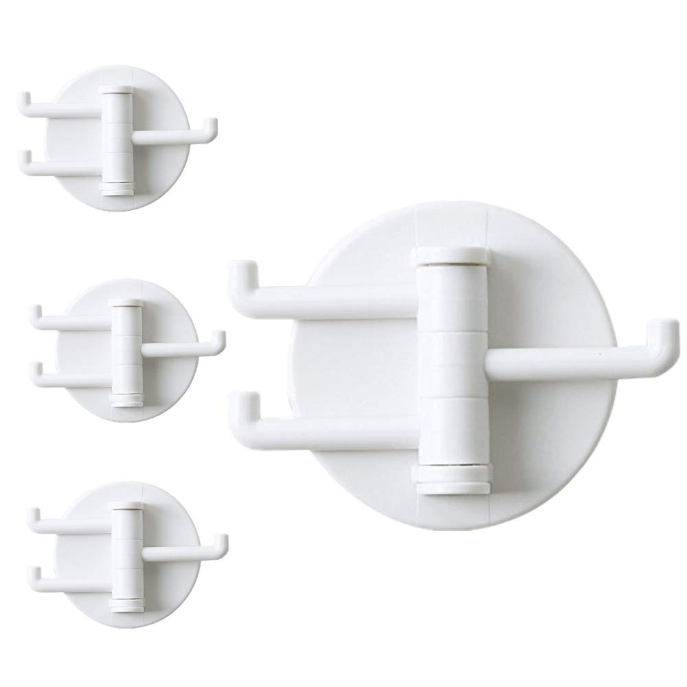 HEINERC 4 Pcs Towel Hooks Adhesive Modern White 3 Plastic Hooks Each Piece for Kitchen Desk Office Bedroom LCSHOP