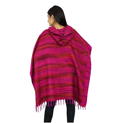Las Mujeres Ponchos Un Tamaño Ropa De Invierno Ropa Boho Gitano Con El Regalo Suéter De La Capilla Para Ella Magenta-1