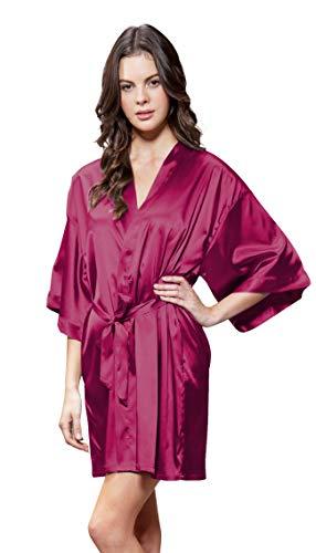 Turquaz Linen Satin Kimono Bridesmaids Robe (Large, Wine -