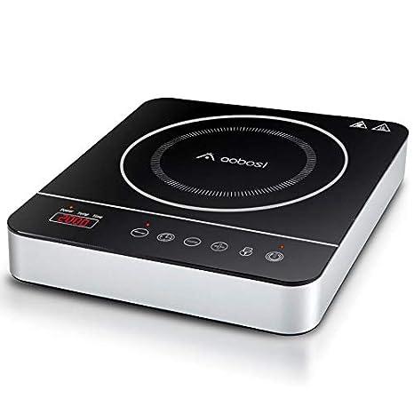 Placa de inducción portátil, Aobosi Placa Inducción Portatil 2000 W, vitrocerámica con Pantalla Digital LED, Placa de inducción, Sensor táctil de ...