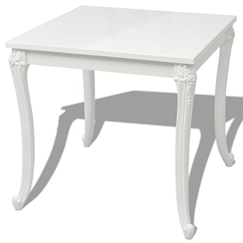 Festnight Square Dining Table High Gloss White Kicthen Room Pedestal Leisure Coffee Tea Breakfast Table for Home kitchen Furniture (31.5″x31.5″x30″)