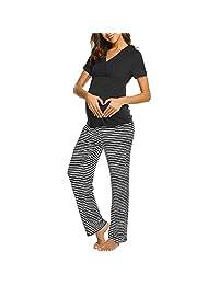 BEIGAIXLSBZ Women Ultra Soft Maternity V-Neck Pajamas Set Nursing 2 Pcs Baby Short Sleeve T-Shirt Tops+Stripe Pants Sleepwear Set Pregnancy Breastfeeding Nightgown Pjs
