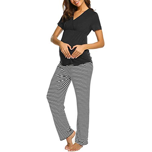 Toponly Pregnancy Pajamas Sets,Women Maternity V-Neck Nursing Breastfeeding Baby T-Shirt Tops+Stripe Pants Comfy Black ()