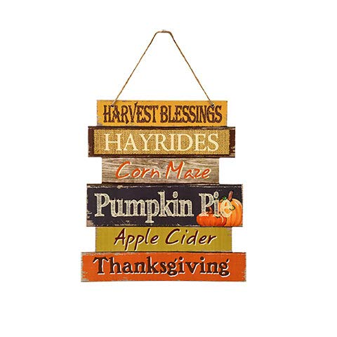 Greenbriar Wooden Hanging Thanksgiving Autumn Themed Decor Sign ' (Harvest Blessings)