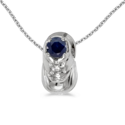This 14k white gold round sapphire baby bootie pendant features a 3 mm genuine natural sapphire with a 0.22 ct total weight. by sendmyjewelry