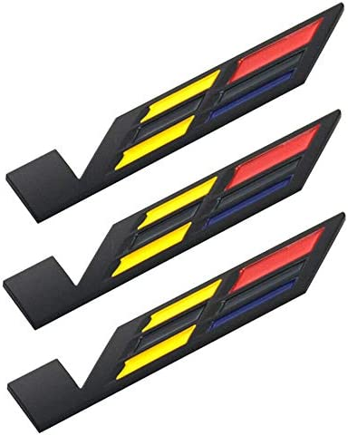 Black//Yellow//Red 3x Black V Car Body Trunk Lid Sticker Badge Emblem Compatible For ATS CTS SRX XTS