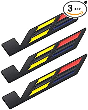 3 Pack V Car Body Trunk Lid Sticker 3D Badges Emblems Stickers Compatible For Car Side Fender Rear Trunk Black-Yellow-Red