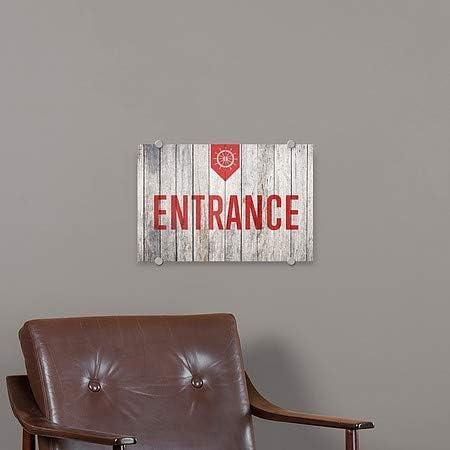 27x18 CGSignLab Entrance Nautical Wood Premium Brushed Aluminum Sign