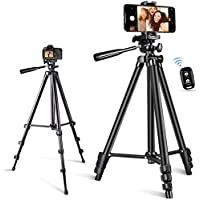 Aluminum Phone Tripod, 50-inch Extendable Lightweight Tripod with Bluetooth Remote, Phone Clip, Travel Tripod for…