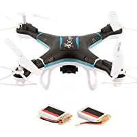QCopter Black Drone Quadcopter -Awesome Drones With Camera -Brilliant Quadcopters LED Lights -RC Drone with Flight Stability -Drones Long Flights of 30 Minutes w/Bonus Battery -5-Star Customer Service