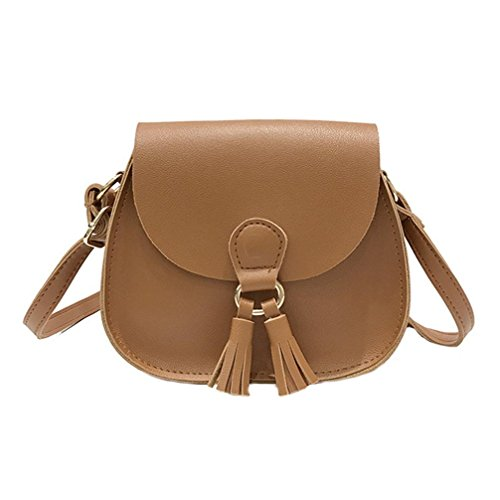 Women Handbags ,kaifongfu Tassel Leather Cross Body Shoulder Bags Girls Messenger Bag (18cm(L)/15cm(H)/5cm(W)(7.08'/5.90'/1.96'), Brown)