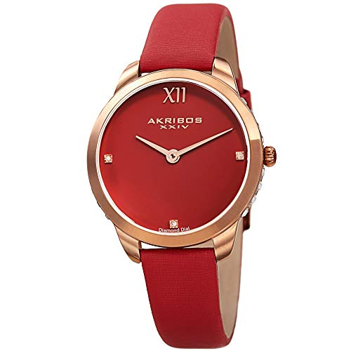 Akribos XXIV Women's Swarovski Crystal Studded Watch - 3 Genuine Diamond Markers, Comfortable Red Leather Strap, Red Glossy Dial - AK1059RD