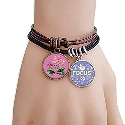 SeeParts Watercolor Pink Chrysanthemum Greenery Bracelet Rope Wristband Force Handcrafted Jewelry Estimated Price £9.99 -