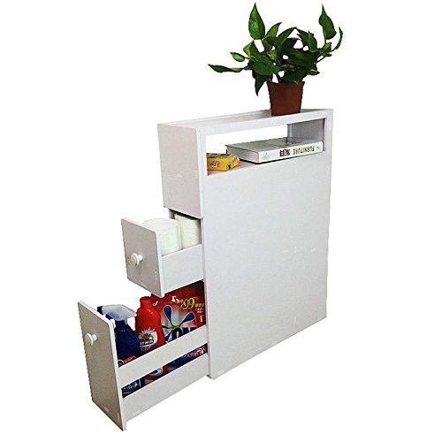Bathroom Toilet Rolling Wood Floor Storage Cabinet Holder Organizer Space Saver