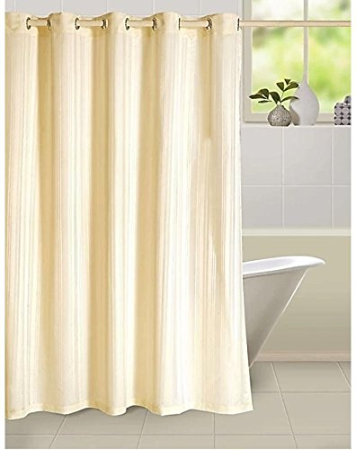 Ininsight solutions Plain Strip Shower Curtain 7 feet with Hooks Polyester Made Fabric Bombai Deinge -Yellow