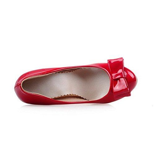 Amoonyfashion Dames Solide Laklederen Hoge Hakken Pull-on Ronde Gesloten Teen Pumps-schoenen Rood
