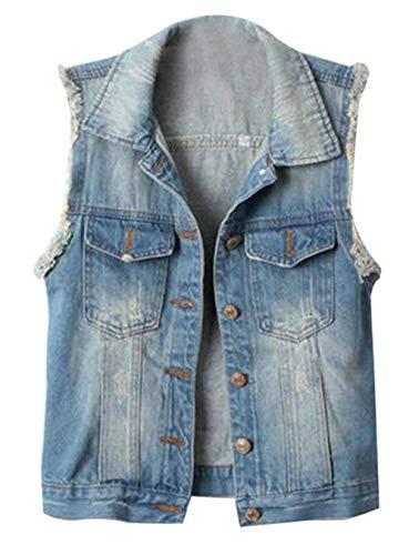 Elegante Tasche Moda Jeans Cute Button Con Hellblau Jacket Bavero Giacca Primaverile Libero Donna Classiche Vintage Gilet Tempo Chic Autunno Smanicato nRqaI1