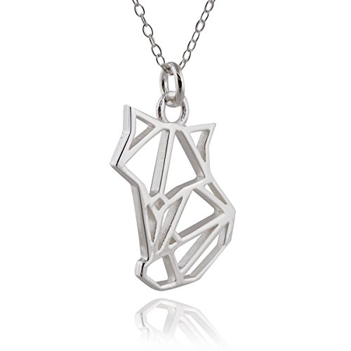 (Sterling Silver Origami Fox Outline Pendant Necklace, 18