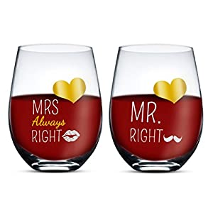 Triple Gifffted Mr and Mrs Wine Glasses Gifts For Couples, Wedding, Anniversary, Couple Engagement, Gift For Bride and…