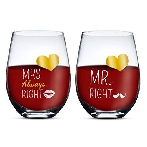 Gifffted Mr Right Mrs Always Right Wine Glasses Couple Set, Funny His and Hers Gifts Ideas For Men, Women, Husband, Fiance, Marriage Wedding Anniversary Day, Year, Married Couples Engagement Gift