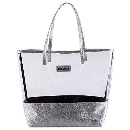Glitter Tote Beach Bag Purse - Clear Vinyl Shoulder Bag with Glitter Accents - Silver - Girls & Teen Accessories - Dress-Up