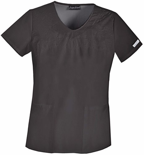 s V-Neck Embroidered Scrub Top Black 3X-Large ()
