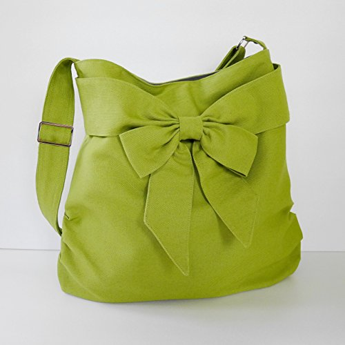 Pleat Bow (Virine pear green shoulder bag, cross body bag, messenger bag, everyday bag, handbag, travel bag, tote, bow, women - JENNIFER)