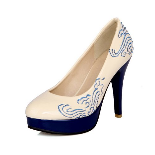 VogueZone009 Womens Closed Round Toe High Heel Platform Patent Leather Solid Pumps, Beige, 9.5 B(M) (Patent Round Toe Platform)