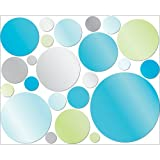 Lot 26 Studio Adhesive Reflections Wall Décor, Mirror Dots, Blue