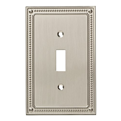 Switchplate Beaded - Franklin Brass W35058-SN-C Classic Beaded Single Switch Wall Plate/Switch Plate/Cover, Satin Nickel