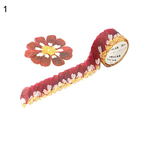 Yamalans 200pcs/Roll Petal Style Adhesive Washi Paper Tape DIY Scrapbook Craft Decorative Stickers 1#