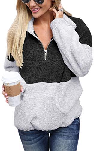 (Angashion Womens Long Sleeve Half Zip Fuzzy Fleece Pullover Jacket Outwear Sweatshirt Tops Coat with Pocket Black S)